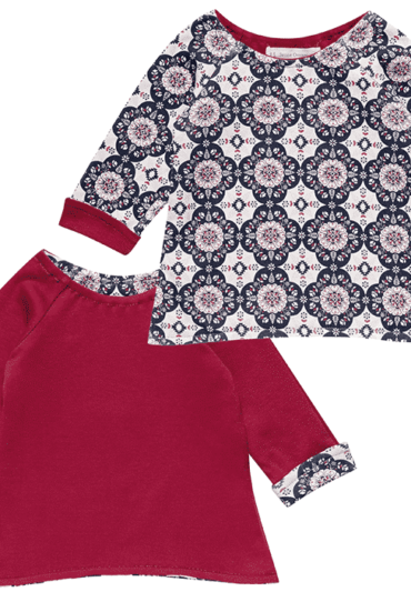 Organic Reversible Baby T-Shirt Dolores Red Flowers