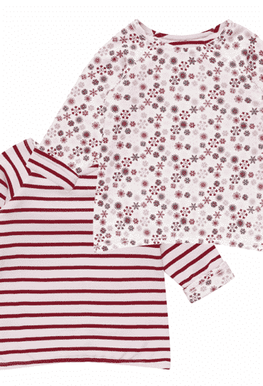 Organic Reversible Baby T-Shirt Dolores Stripes and Snowflakes