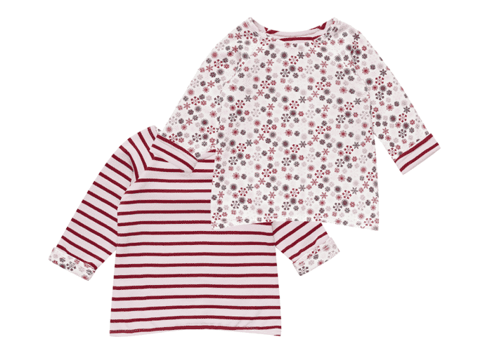 Organic Reversible Baby T-Shirt Stripes and Snowflakes