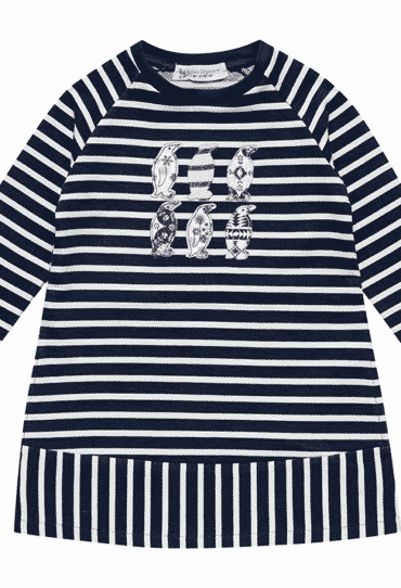 Organic Girls Dress Nicoline Stripes Penguin