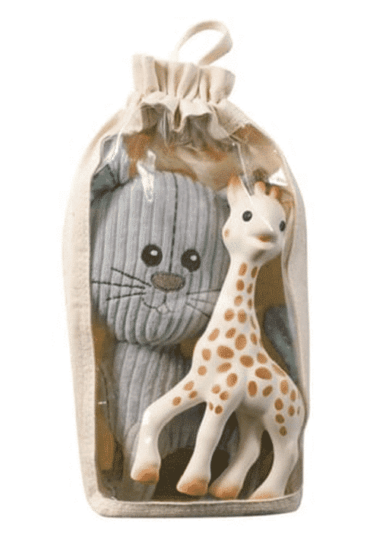 Organic Sophie la Girafe Set Lazare the Cat & Sophie