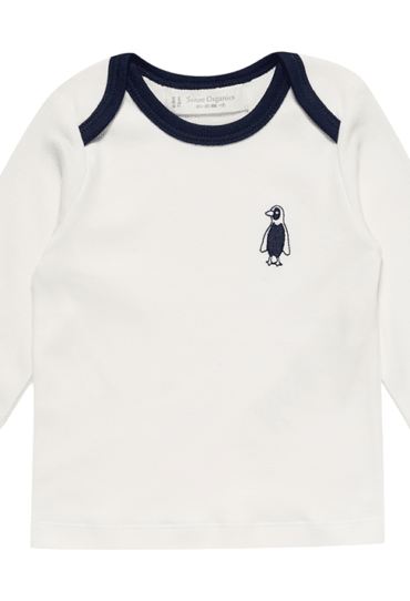Organic Baby Pullover Timber White with Penguin