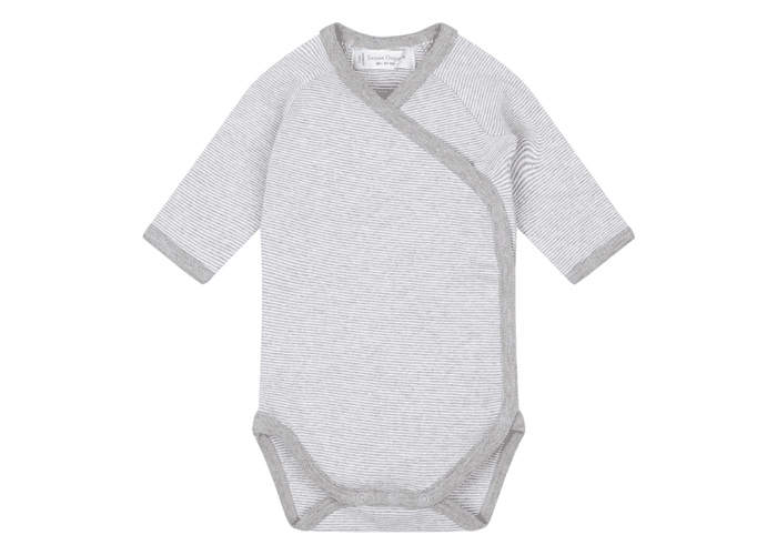 Organic Baby Bodysuit grey with stripes