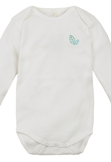 Organic Baby Bodysuit Yvon Long Sleeve White