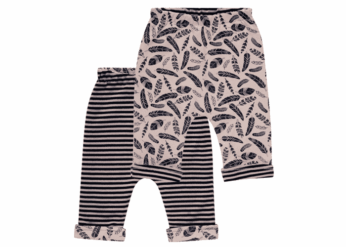 Organic Reversible Baby Pants Baker Brown Feathers