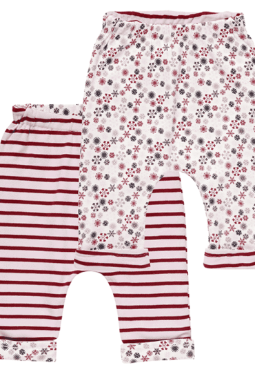Organic Reversible Baby Pants Baker Stripes and Snowflakes