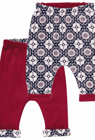 Organic Reversible Baby Pants Baker Red Flowers