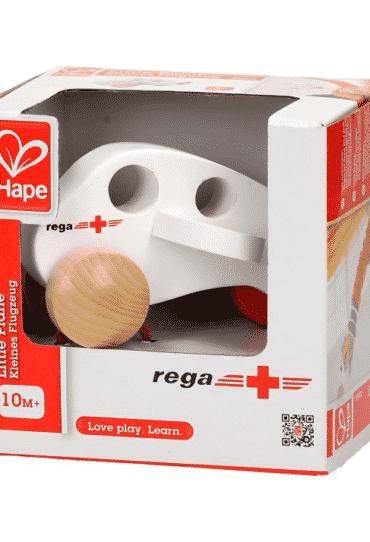 Wooden Toy Plane REGA White