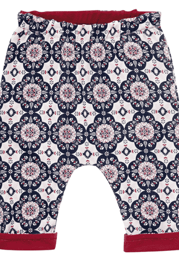 Organic Reversible Baby Pant Red Flowers