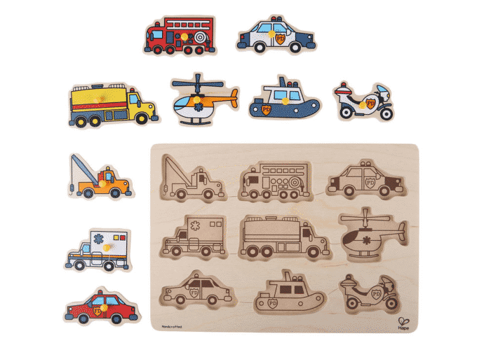 Wooden Toy Puzzle Emergency Vehicles