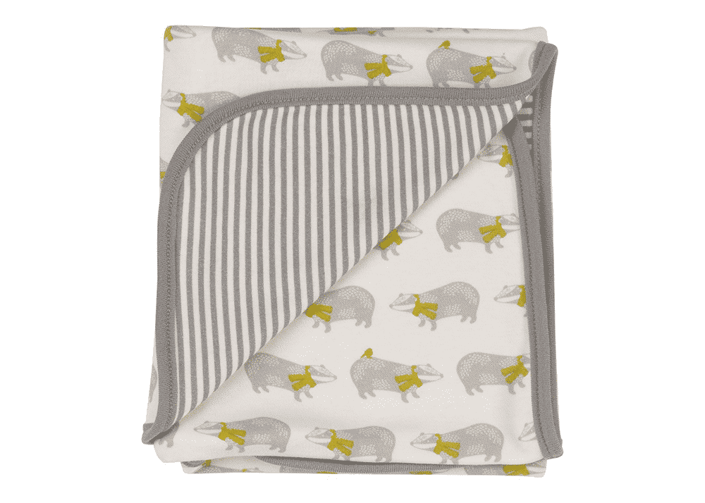 Organic Reversible Baby Blanket with Badgers