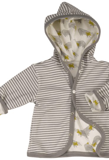 Organic Reversible Baby Hoodie with Badger