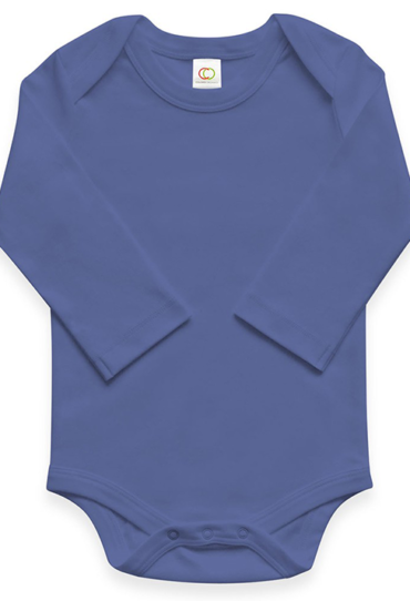 Organic Baby Bodysuit Long Sleeve Blueberry Blue