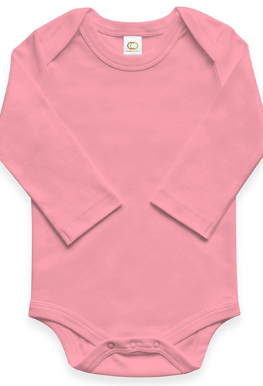 Organic Baby Bodysuit Long Sleeve Pink