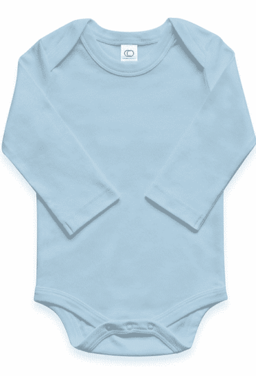 Organic Baby Bodysuit Long Sleeve Sky Blue