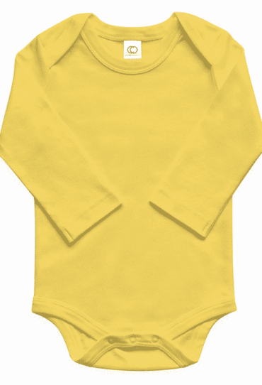 Organic Baby Bodysuit Long Sleeve Yellow