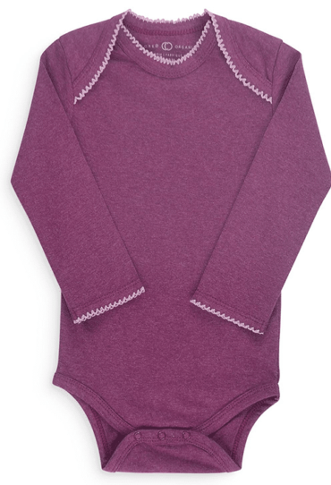 Organic Baby Girl Bodysuit Long Sleeve Mulberry