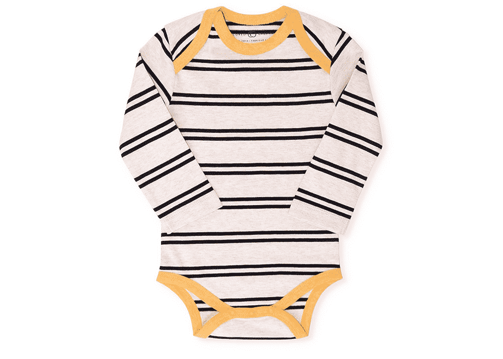Organic Baby Boy Bodysuit Maren Oat with Stripes