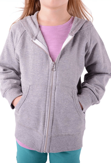 Organic Girls Fleece Hoodie Grey