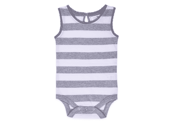 Lucy Lace Tank Top Baby Bodysuit Grey Stripes