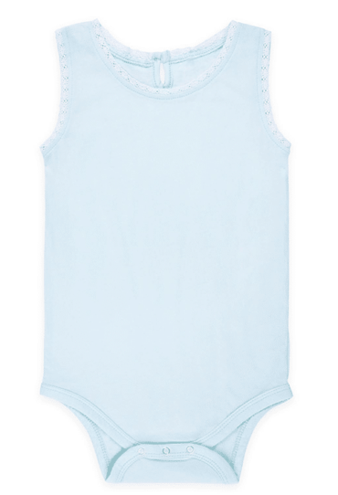 Lucy Lace Tank Top Baby Bodysuit Light Blue