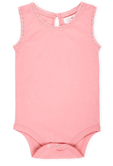 Lucy Lace Tank Top Baby Bodysuit Light Pink