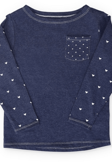 Girls Olivia Pullover Blue with White Hearts