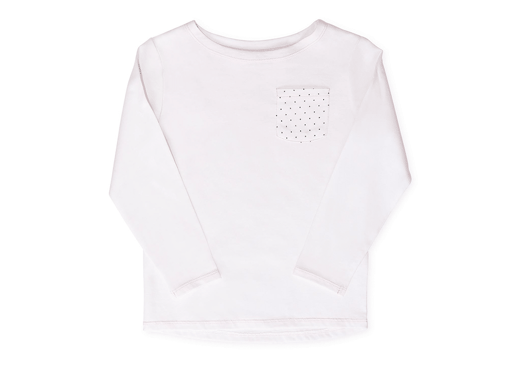Girls Olivia Pullover White with Dots