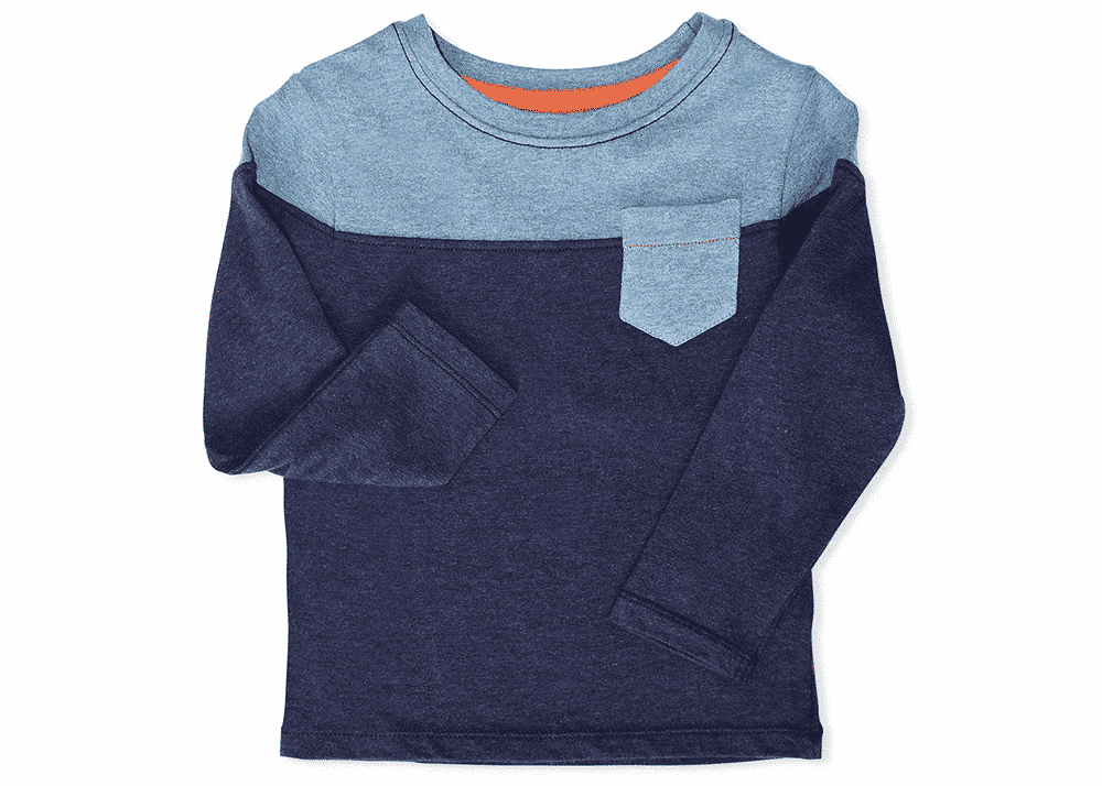 Organic Boys Pullover Pocket Crew Blue