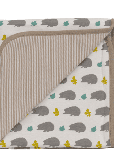 Organic Reversible Baby Blanket with Hedgehogs