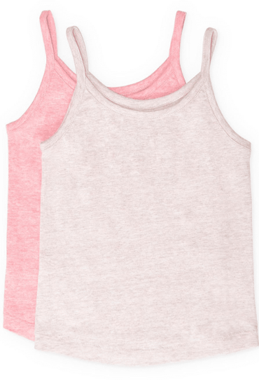 Girls Willow Tank Top Light Brown and Pink