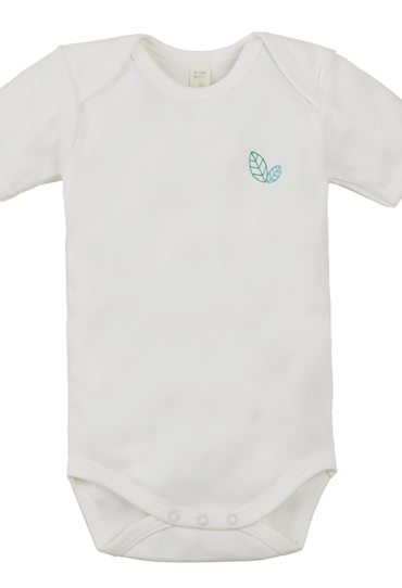 Organic Baby Bodysuit Short Sleeve White