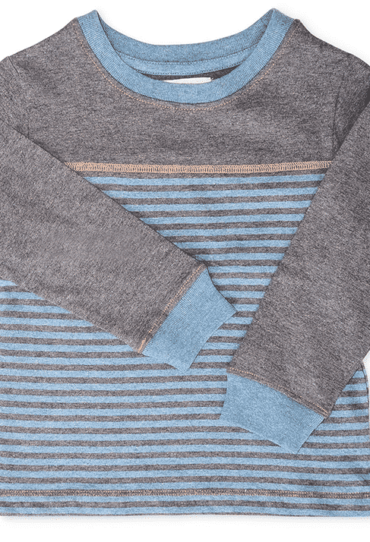 Organic Boys Pullover Yoke Crew Blue Stripes