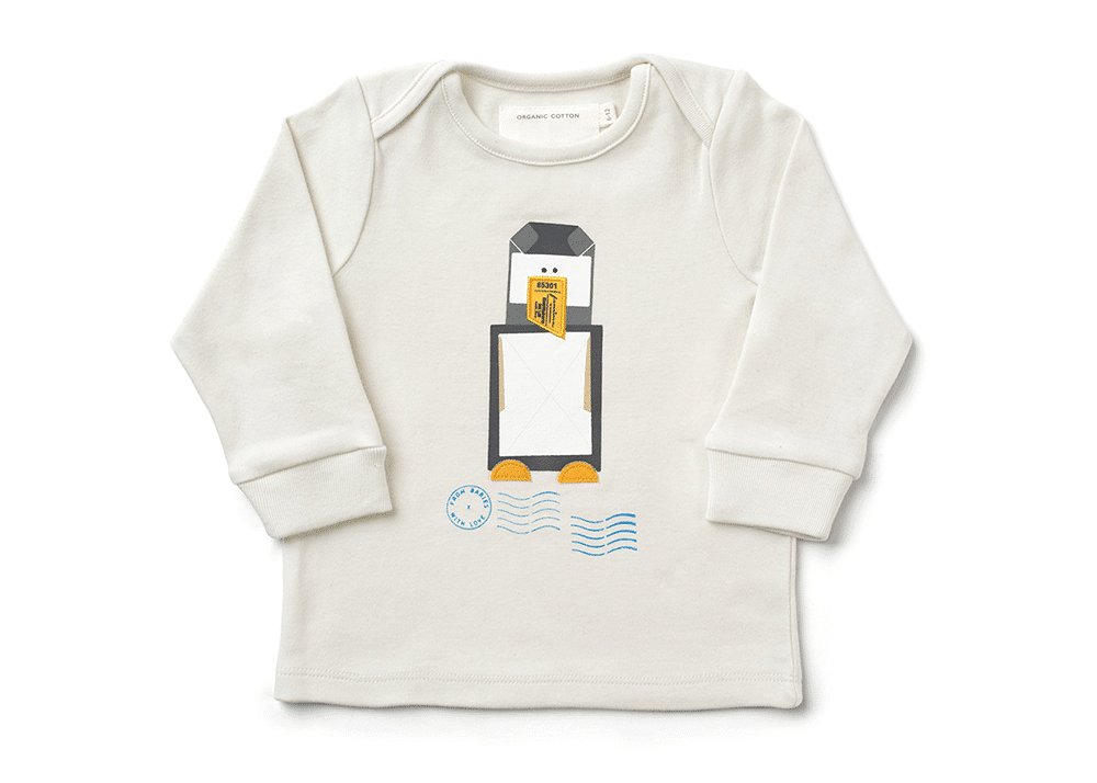 retro penguin t shirt for babies ben emma organic. Black Bedroom Furniture Sets. Home Design Ideas